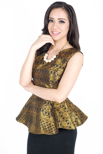 Songket Peplum Top in Gold image