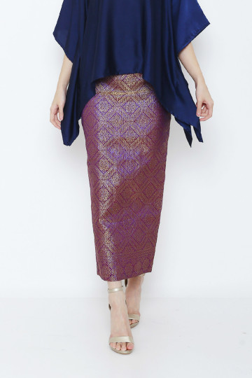 Long Songket Skirt Purple image