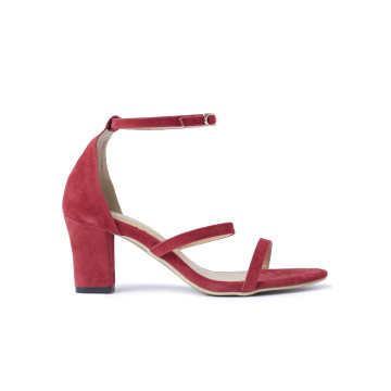 Miley Red Three Straps Block Heels