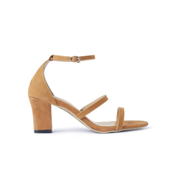 Miley Brown Three Straps Block Heels