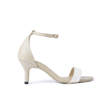 Basic Two Tone White Sandal Heels