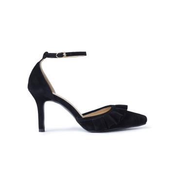 Metta Black Frill Court Heels