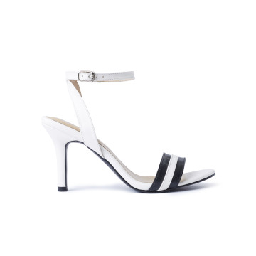 Ayla White Stripes Heels