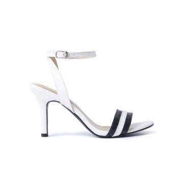 Ayla White Stripes Heels