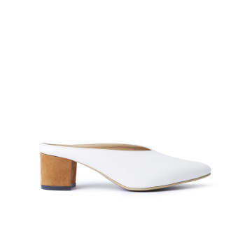 Zee White Heeled Mules