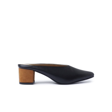 Zee Black Heeled Mules