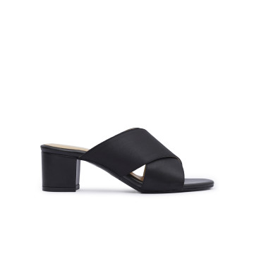 Emma Black Heeled Mules