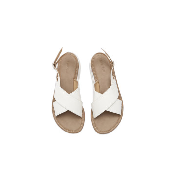 Gea White Cross Sandal