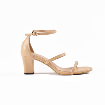 Miley Nude Three Strap Block Heels