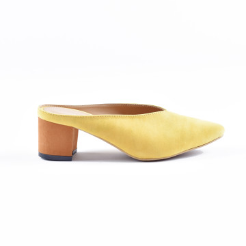 Zee Yellow Heeled Mules
