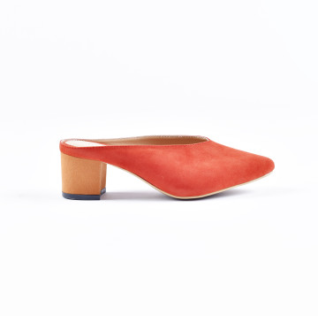 Zee Orange Heeled Mules