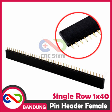 PIN HEADER FEMALE STRIP SINGLE ROW 1X40 2.54MM BLACK HITAM