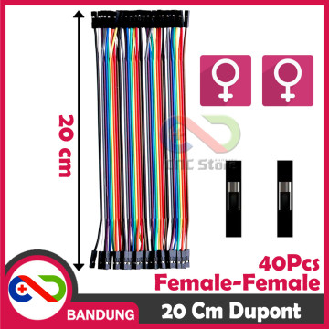 40PCS JUMPER CABLE KABEL 20CM FEMALE TO FEMALE DUPONT FOR BREADBOARD