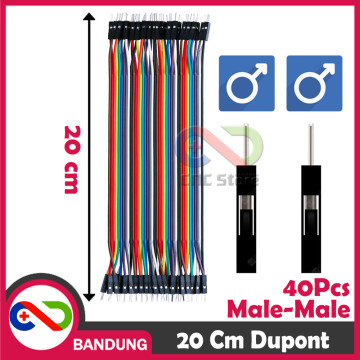 40PCS JUMPER CABLE KABEL 20CM MALE TO MALE DUPONT FOR BREADBOARD