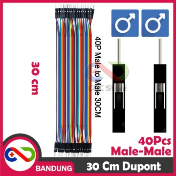 40PCS JUMPER CABLE KABEL 30CM MALE TO MALE DUPONT FOR BREADBOARD