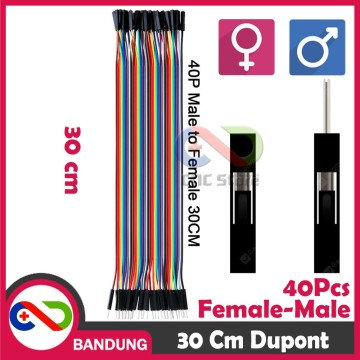 40PCS JUMPER CABLE KABEL 30CM MALE TO FEMALE DUPONT FOR BREADBOARD