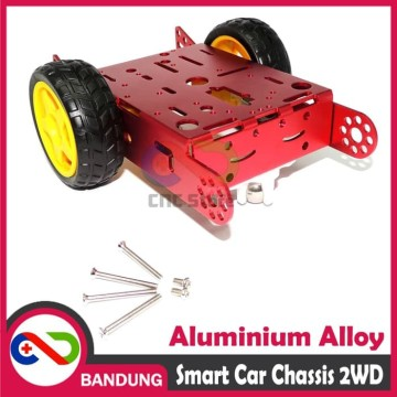 SMART CAR CHASSIS 2WD ALUMINIUM ALLOY ROBOT RED WHEEL LINE FOLLOWER DIY