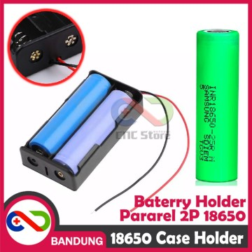 KOTAK BATERAI 18650 BATTERY HOLDER 2P 3.7V LI-ION LITHIUM 18650 BATTERY CASE PARAREL