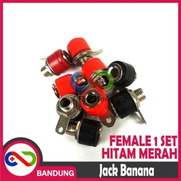 JACK BANANA FEMALE 1 SET BLACK RED SEPASANG HITAM MERAH