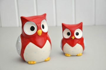 Red Owl Ceramic Trinket Pot