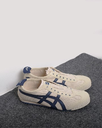 onitsuka tiger 66 slip on - cream navy - 13360