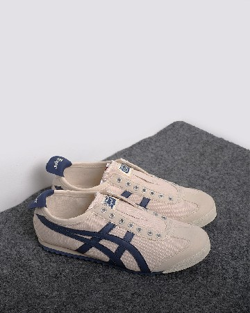 onitsuka tiger 66 slip on - cream navy - 13366