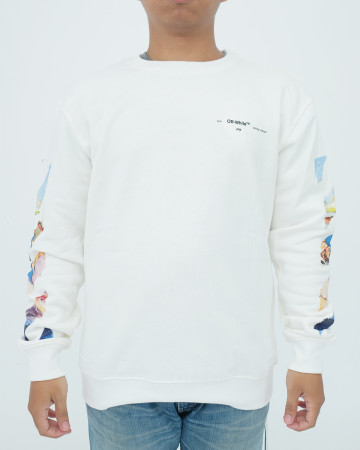 Off White Diagonal Colored Arrows Longsleeve Tee - White - 62073