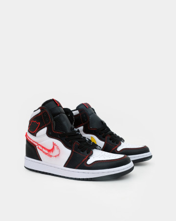 Jordan 1 Retro High Defiant White Black Gym Red - White black 13576