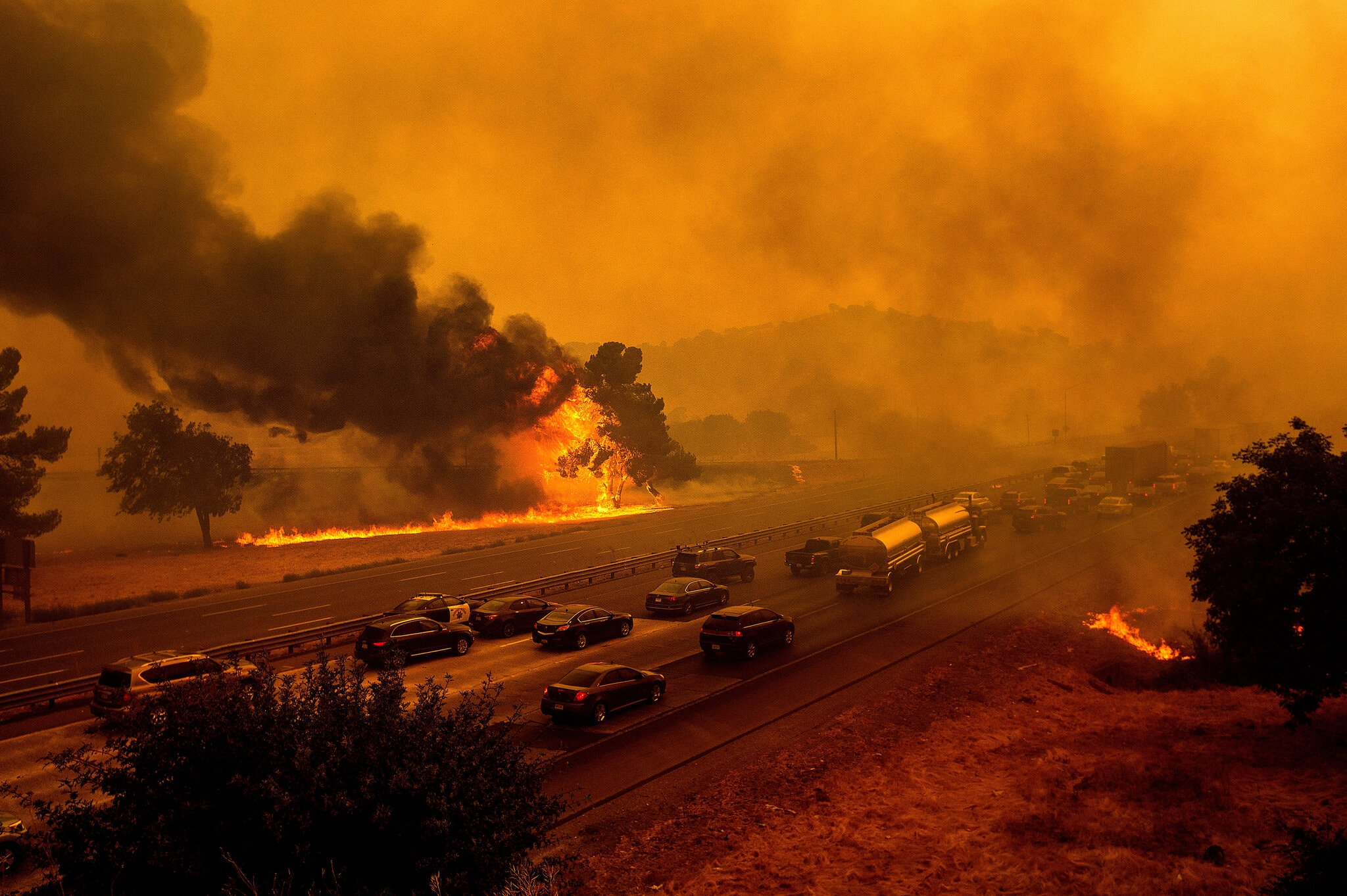 A wildfire approached Interstate 80 near Vacaville, Calif., in August.