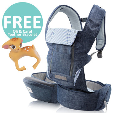 Pognae No 5 Plus Hipseat and Baby Carrier | Denim Blue image