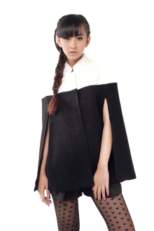 White and Black Wool Cape