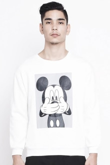 Unisex White Mickey BW Sweatshirt