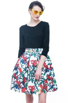 White Pop Birds Skirt and Black Top Set