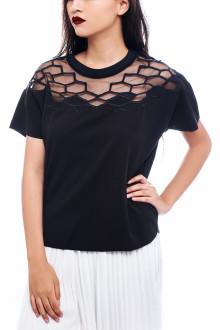 Black Hexagon Transparant Shoulder Top