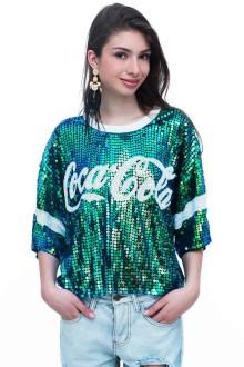 Green Coca Cola Sequin Top