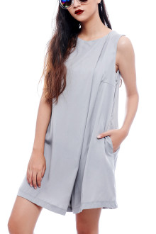 Grey Basic Loose Jumpsuit