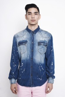 Unisex Blue Painted Denim Shirt