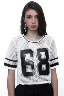 White 68 Sequin Net Top