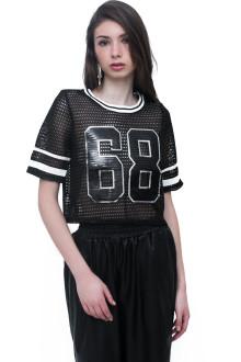 Black 68 Sequin Net Top