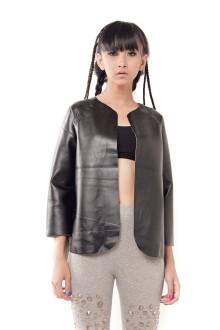 Black Monochrome Faux Leather Jacket