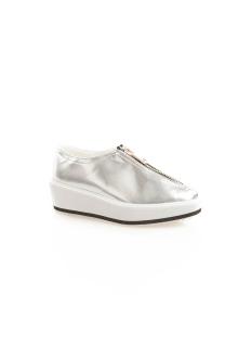 Silver Front Zip Detail Shoes