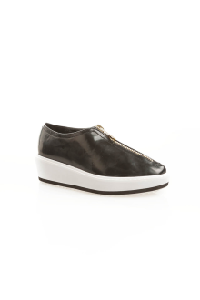 Black Front Zip Detail Shoes