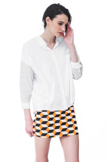White Shirt with Stripe Sleeve Detail