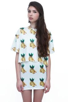 White Banana Top and Skirt Set