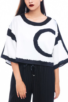 White Abstract C Boxy Top