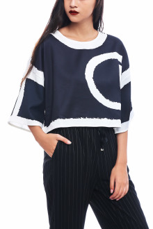 Black Abstract C Boxy Top