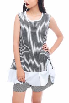 Grey Stripe Ruffle Long Top