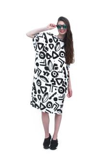 White Tribal Graphic Jersey Dress