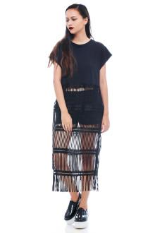 Black Graphic Fringe Shirt Dress