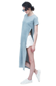 Misty Grey Long Tees with Side Slit